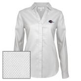 Ladies Red House Diamond Dobby White Long Sleeve Shirt-Roadrunner Head