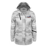 Ladies White Brushstroke Print Insulated Jacket-UTSA Roadrunners w/ Head Flat