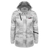 Ladies White Brushstroke Print Insulated Jacket-UTSA Roadrunners w/ Head Flat