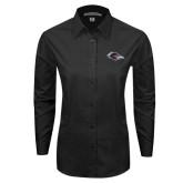 Ladies Black Tonal Pattern Long Sleeve Shirt-Roadrunner Head