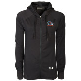 Ladies Under Armour Black Varsity Full Zip Hoodie-Primary Logo