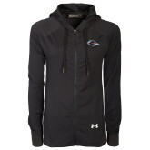 Ladies Under Armour Black Varsity Full Zip Hoodie-Roadrunner Head