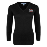Ladies Black V Neck Sweater-Primary Logo