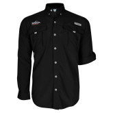 Columbia Bahama II Black Long Sleeve Shirt-UTSA Roadrunners w/ Head Flat
