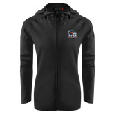 Ladies Tech Fleece Full Zip Black Hooded Jacket-Primary Logo