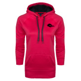 Ladies Pink Raspberry Tech Fleece Hoodie-Roadrunner Head Tone