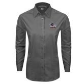 Ladies Grey Tonal Pattern Long Sleeve Shirt-Primary Logo