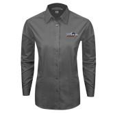 Ladies Grey Tonal Pattern Long Sleeve Shirt-UTSA Roadrunners w/ Head Flat