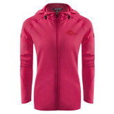 Ladies Tech Fleece Full Zip Hot Pink Hooded Jacket-Roadrunner Head Tone