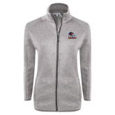 Grey Heather Ladies Fleece Jacket-Primary Logo