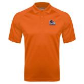 Orange Textured Saddle Shoulder Polo-Primary Logo