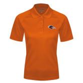Ladies Orange Textured Saddle Shoulder Polo-Roadrunner Head