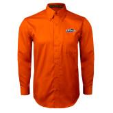 Orange Twill Button Down Long Sleeve-UTSA Roadrunners w/ Head Flat
