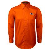 Orange Twill Button Down Long Sleeve-Roadrunner Head