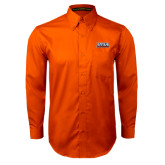 Orange Twill Button Down Long Sleeve-UTSA Roadrunners Stacked