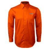 Orange Twill Button Down Long Sleeve-UTSA