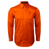 Orange Twill Button Down Long Sleeve-Roadrunner Head Tone