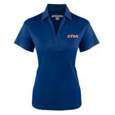 Ladies Navy Performance Fine Jacquard Polo-UTSA