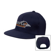 Navy Flat Bill Snapback Hat-UTSA Roadrunners w/ Head Flat