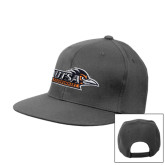 Charcoal Flat Bill Snapback Hat-UTSA Roadrunners w/ Head Flat