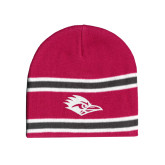 Pink/Charcoal/White Striped Knit Beanie-Roadrunner Head Tone