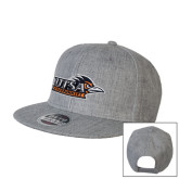 Heather Grey Wool Blend Flat Bill Snapback Hat-UTSA Roadrunners w/ Head Flat