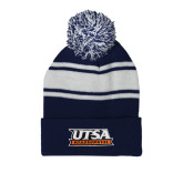Navy/White Two Tone Knit Pom Beanie with Cuff-UTSA Roadrunners Stacked