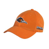 Orange Twill Unstructured Low Profile Hat-Roadrunner Head