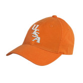 Orange Twill Unstructured Low Profile Hat-UTSA Slanted
