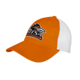 Orange/White Mesh Back Unstructured Low Profile Hat-Primary Logo