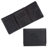 Canyon Tri Fold Black Leather Wallet-Primary Logo Engraved