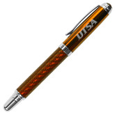 Carbon Fiber Orange Rollerball Pen-UTSA Engraved