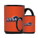 Full Color Black Mug 15oz-UTSA Roadrunners w/ Head Flat