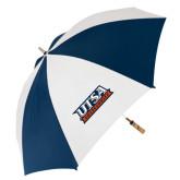 62 Inch Navy/White Umbrella-UTSA Roadrunners Stacked