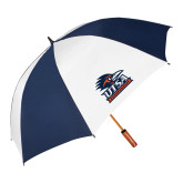 62 Inch Navy/White Vented Umbrella-Primary Logo
