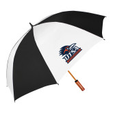 62 Inch Black/White Vented Umbrella-Primary Logo
