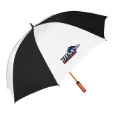 62 Inch Black/White Vented Umbrella-UTSA Roadrunners w/ Head Flat