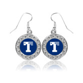 Crystal Studded Round Pendant Silver Dangle Earrings-Flag T