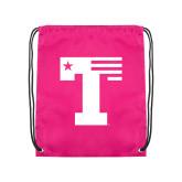 Pink Drawstring Backpack-Flag T