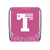Nylon Pink Bubble Patterned Drawstring Backpack-Flag T