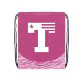 Nylon Zebra Pink/White Patterned Drawstring Backpack-Flag T