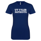 Next Level Ladies SoftStyle Junior Fitted Navy Tee-UT Tyler Patriots Stacked