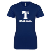 Next Level Ladies SoftStyle Junior Fitted Navy Tee-Flag T - Baseball