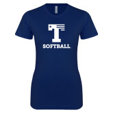 Next Level Ladies SoftStyle Junior Fitted Navy Tee-Flag T - Softball