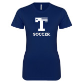 Next Level Ladies SoftStyle Junior Fitted Navy Tee-Flag T - Soccer