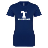 Next Level Ladies SoftStyle Junior Fitted Navy Tee-Flag T - Volleyball