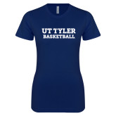 Next Level Ladies SoftStyle Junior Fitted Navy Tee-Flag T - Basketball