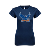 Next Level Ladies SoftStyle Junior Fitted Navy Tee-UT Tyler w/ Eagle