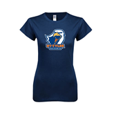 Next Level Ladies SoftStyle Junior Fitted Navy Tee-UT Tyler w/ Eagle Head