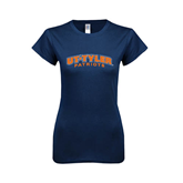 Next Level Ladies SoftStyle Junior Fitted Navy Tee-UT Tyler Arched